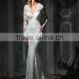 (MY10349) MARRY YOU Elgant V-neck Backless Mermaid Long Sleeve Wedding Dress Lace