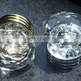 Crown shape crystal glass cabinet knobs on brass base 35MM