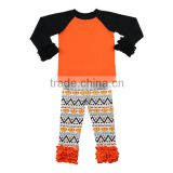 2016 Kaiyo fall boutique girl clothing black baby ruffle raglan with orange ruffle pant halloween costumes china wholesale
