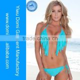 Domi super sexy brazil solid colour blue hot sex young woman tassel micro bikini,open hot sexy girl photo