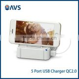 Manufacturer New Universal Mobile Travel 5 Port USB Wall Charger Power Adapter for Iphone Android smartphones