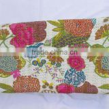 Direct factory wholesale price 100% cotton indian handmade kantha work flower print throw/quilt