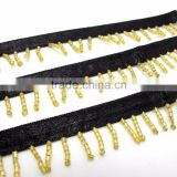 1 Inch Black and Gold Satin Beaded Fringe Trim