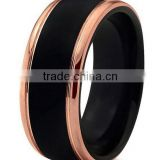 8mm 18K Rose Gold Plated Black High Matte Tungsten Rings Carbide Domed Brushed Men's Women Wedding Band Ring Comfort Fit Finish