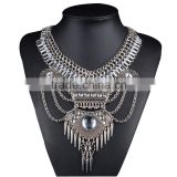 Antique Silver Plated Handmade Bib Necklaces Chunky Statement Necklaces High Quality Waterfall Necklaces For Women