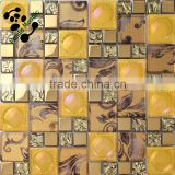 SMP24 Hot sale gold glass mosaic tile for bathroom kitchen decor with moroccan mosaic design in European market Mosaic