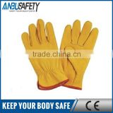 full palm pvc dotted yellow cow split leather glove