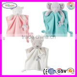 E029 Cuddle Plush Baby Blanket Pacifier Loop Mink Baby Baby Security Blanket with Rattle Sound