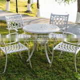 guangdong furniture outdoor patio set/chair white metal frame/white powder coated aluminium dining set