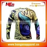 Hongen apparel Custom Stretch Lycra Compression Shirt Mma OEM Top Sale Sportswear Compression Shirts compression wear