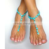 OEM turquoise beads anklet with toe rings Unique oval beads anklet 2016 beads foot chain for sister friendship