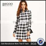 Black And White Checkered Roll Tab Sleeve Shirt Dress With Collar 100% Cotton Long Sleeve Button Pocket Plaid Shirt Dress