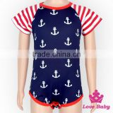 2LLY-115 Lovebaby Wholesale 4th July outfit red blue white anchor short sleeve romper kids jumpsuit