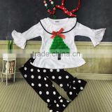 X-mas suit white top with Christmas tree Christmas outfits girls baby clothing white dot pant with matching accessories set