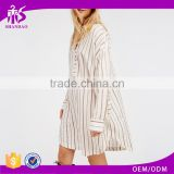 Hot Selling Fashion Ladies Stripe Curve Hem Button Up Chiffon Long Sleeve different designs casual dresses