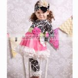 2014Hot Sale!Baby Girls Cotton Ruffle Pants Set child wear garment China kids clothes wholesale outfit for kids damask 2 pcs set