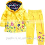 New Multiple Colors Bomber Raincoat Kids Custom Rain Coat Flower Wholesale Nylon Jacket With Blazer Pants