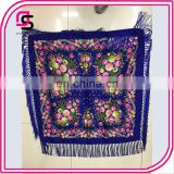 2017 newest women fashion printed blue flower square scarf shawl with tassels