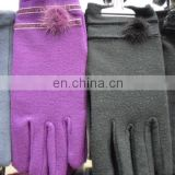 Thin winter gloves with plush ball