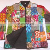 Indian Handmade Vintage INDIAN NEW PRINTED COTTON KANTHA ETHNIC EMBROIDERED WOMEN JACKET COAT M (38 SIZE Reversible