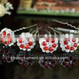 Bridal Red Flower Crystal Hair Pins