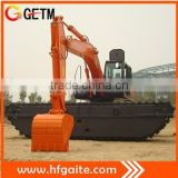 Attention!! Construction equipment amphibious dredger in China Hitachi excavator 0.9bucket 3 Chains Doosan motor max 13.5m arm