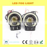 2015 guangzhou 12v 10w 3.5 inch LED fog light lamp projector lens with yellow red white blue angle eyes evil eyes