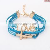 CB8132 acceeories for woman cross with love braided leather bracelet alibaba express from china wholesale
