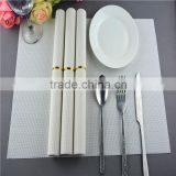 Wholesale price 75g PVC woven mesh placemat white pure color 1*2 series 45*30cm