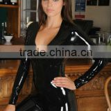 black sexy hot leather catsuit for women