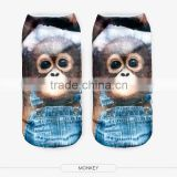 outdoor ankle white monkey high quality 3d digital full print colorful ankle socks sports unisex custom hot sale stretch spandex