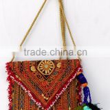 Multi color hand embroidered banjara bag sling bags with colorful pompom tassels Ibiza bag ibiza style