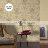 hot sale heavy embossed vinyl wallpaper, mocha funky flower wall paper for living room , attractive wall mural pattern
