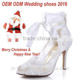 High quality eleglant lace material white bridal wedding shoes high heels 2016