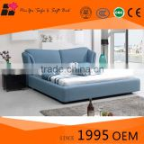 2015 latest metal bed frame fabric double bed