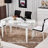 powder paiting white color dinner set for 6 people /tempered glass dining table 6 chairs set