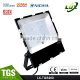 2016 CE Rohs Approved, Nichia Osram LED, 100-140lm/W, Meanwell Driver, 5 Years Warranty LED Flood Light 200 Watt
