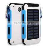 8000mAh best mobile solar cell power waterproof external battery power bank charger with strong led flashlight