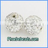 Wholesale Shamballa Beads 14MM White Clear Pave Bling Bling CZ Crystal Rhinestone Clay Loose Disco Ball Round Bracelets Findings