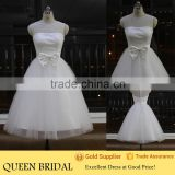 2015 Sleeveless Transparent Tulle Butterfly Wedding Dress Short Ball Gown