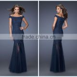 Off Shoulder Mermaid Style Full Length Tulle Applique Navy Blue Modest Evening Dresses HA-158