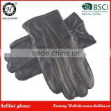 Men's Hand Sewing Sheepskin Leather Gloves Winter Driving Cashmere Lined Leather Gloves