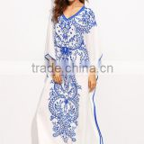Dresses latest women girl design fashion photos Blue Print in White V Neck Batwing Sleeve Maxi Dress