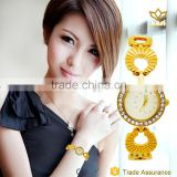 New fashion gold alloy watch case led digital water resistant lady quartz watch 8106