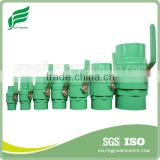 GREEN PVC TWO PIECES BALL VALVE(STAINLESS STEEL HANDLE)