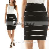 OEM service custom design stretchy women office wear stripe fitted pencil skirts casually