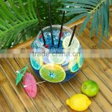 BPA free party Plastic fish bowl style Plastic cocktail fish bowl straw cup