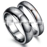 Tungsten steel simple round silvery ring fashion cupple ring lover's rings wedding jewelry 6260425