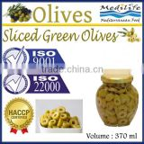 Tunisian Sliced Green Olives, 100% High Quality Olives, Green Olives,Sliced Table Olives 370 ml Glass Jar