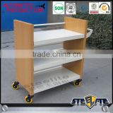 Factory direct sale Steel Rolling Book Cart With Wheels For Library